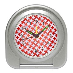 Houndstooth2 White Marble & Red Brushed Metal Travel Alarm Clocks by trendistuff