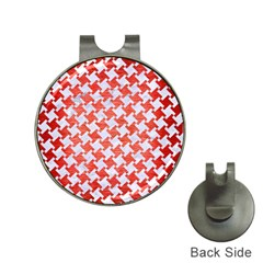 Houndstooth2 White Marble & Red Brushed Metal Hat Clips With Golf Markers by trendistuff