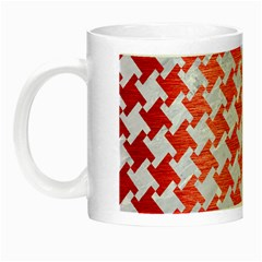 Houndstooth2 White Marble & Red Brushed Metal Night Luminous Mugs by trendistuff