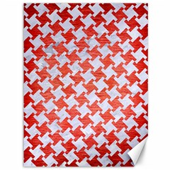 Houndstooth2 White Marble & Red Brushed Metal Canvas 36  X 48   by trendistuff