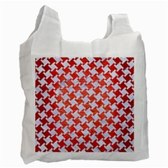 Houndstooth2 White Marble & Red Brushed Metal Recycle Bag (two Side)  by trendistuff