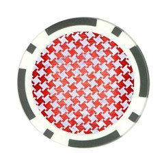 Houndstooth2 White Marble & Red Brushed Metal Poker Chip Card Guard (10 Pack) by trendistuff