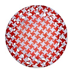 Houndstooth2 White Marble & Red Brushed Metal Ornament (round Filigree) by trendistuff