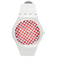 Houndstooth2 White Marble & Red Brushed Metal Round Plastic Sport Watch (m) by trendistuff