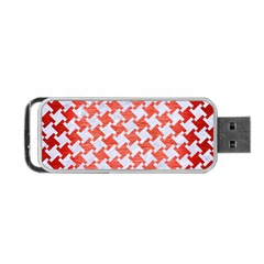 Houndstooth2 White Marble & Red Brushed Metal Portable Usb Flash (one Side) by trendistuff