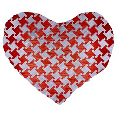 Houndstooth2 White Marble & Red Brushed Metal Large 19  Premium Heart Shape Cushions by trendistuff
