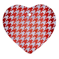 Houndstooth1 White Marble & Red Brushed Metal Ornament (heart) by trendistuff