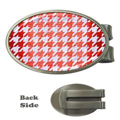 Houndstooth1 White Marble & Red Brushed Metal Money Clips (oval)  by trendistuff