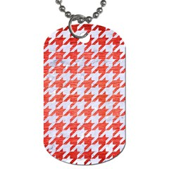 Houndstooth1 White Marble & Red Brushed Metal Dog Tag (two Sides) by trendistuff
