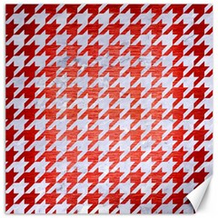 Houndstooth1 White Marble & Red Brushed Metal Canvas 16  X 16   by trendistuff