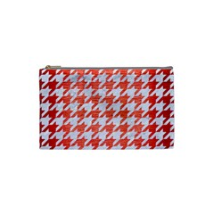 Houndstooth1 White Marble & Red Brushed Metal Cosmetic Bag (small)  by trendistuff