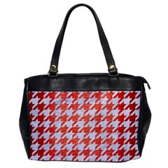 Houndstooth1 White Marble & Red Brushed Metal Office Handbags by trendistuff
