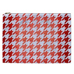 Houndstooth1 White Marble & Red Brushed Metal Cosmetic Bag (xxl)  by trendistuff