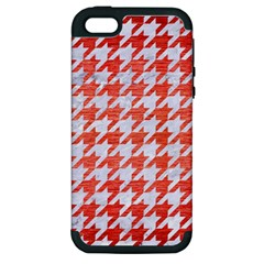 Houndstooth1 White Marble & Red Brushed Metal Apple Iphone 5 Hardshell Case (pc+silicone) by trendistuff
