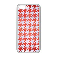 Houndstooth1 White Marble & Red Brushed Metal Apple Iphone 5c Seamless Case (white) by trendistuff