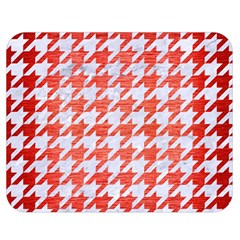 Houndstooth1 White Marble & Red Brushed Metal Double Sided Flano Blanket (medium)  by trendistuff