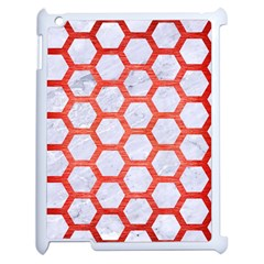 Hexagon2 White Marble & Red Brushed Metal (r) Apple Ipad 2 Case (white) by trendistuff
