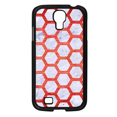 Hexagon2 White Marble & Red Brushed Metal (r) Samsung Galaxy S4 I9500/ I9505 Case (black) by trendistuff