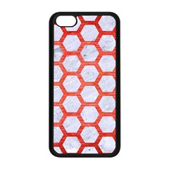 Hexagon2 White Marble & Red Brushed Metal (r) Apple Iphone 5c Seamless Case (black) by trendistuff