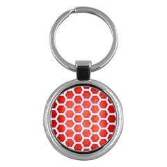 Hexagon2 White Marble & Red Brushed Metal Key Chains (round)  by trendistuff