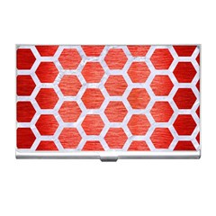 Hexagon2 White Marble & Red Brushed Metal Business Card Holders by trendistuff
