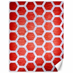 Hexagon2 White Marble & Red Brushed Metal Canvas 12  X 16   by trendistuff