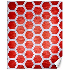 Hexagon2 White Marble & Red Brushed Metal Canvas 16  X 20