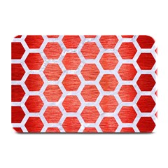 Hexagon2 White Marble & Red Brushed Metal Plate Mats by trendistuff