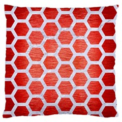 Hexagon2 White Marble & Red Brushed Metal Large Flano Cushion Case (one Side) by trendistuff