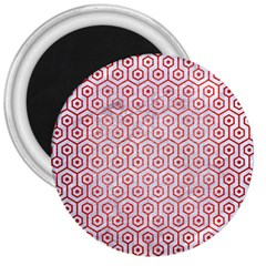 Hexagon1 White Marble & Red Brushed Metal (r) 3  Magnets by trendistuff