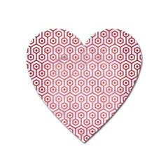 Hexagon1 White Marble & Red Brushed Metal (r) Heart Magnet by trendistuff