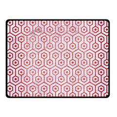 Hexagon1 White Marble & Red Brushed Metal (r) Fleece Blanket (small) by trendistuff