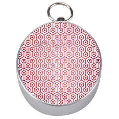 Hexagon1 White Marble & Red Brushed Metal (r) Silver Compasses by trendistuff