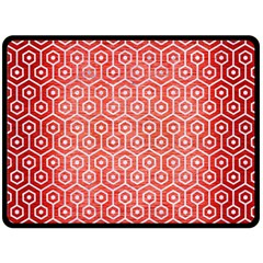 Hexagon1 White Marble & Red Brushed Metal Fleece Blanket (large)  by trendistuff