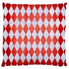 Diamond1 White Marble & Red Brushed Metal Large Cushion Case (two Sides) by trendistuff