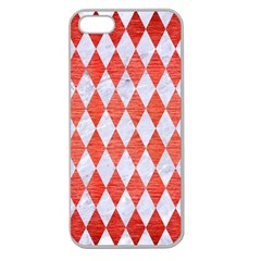 Diamond1 White Marble & Red Brushed Metal Apple Seamless Iphone 5 Case (clear) by trendistuff