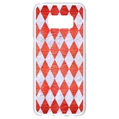 Diamond1 White Marble & Red Brushed Metal Samsung Galaxy S8 White Seamless Case by trendistuff