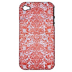 Damask2 White Marble & Red Brushed Metal (r) Apple Iphone 4/4s Hardshell Case (pc+silicone) by trendistuff