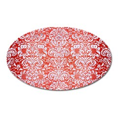 Damask2 White Marble & Red Brushed Metal Oval Magnet by trendistuff