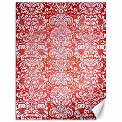 Damask2 White Marble & Red Brushed Metal Canvas 12  X 16   by trendistuff