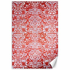 Damask2 White Marble & Red Brushed Metal Canvas 12  X 18   by trendistuff