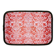 Damask2 White Marble & Red Brushed Metal Netbook Case (medium)  by trendistuff