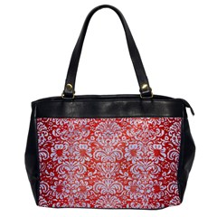 Damask2 White Marble & Red Brushed Metal Office Handbags by trendistuff