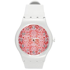 Damask2 White Marble & Red Brushed Metal Round Plastic Sport Watch (m) by trendistuff