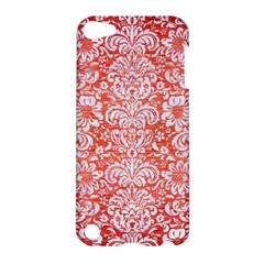 Damask2 White Marble & Red Brushed Metal Apple Ipod Touch 5 Hardshell Case by trendistuff