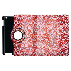 Damask2 White Marble & Red Brushed Metal Apple Ipad 3/4 Flip 360 Case by trendistuff