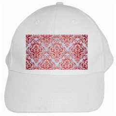 Damask1 White Marble & Red Brushed Metal (r) White Cap by trendistuff