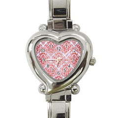 Damask1 White Marble & Red Brushed Metal (r) Heart Italian Charm Watch by trendistuff