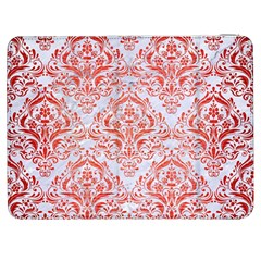Damask1 White Marble & Red Brushed Metal (r) Samsung Galaxy Tab 7  P1000 Flip Case by trendistuff