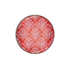 Damask1 White Marble & Red Brushed Metal Hat Clip Ball Marker (4 Pack) by trendistuff